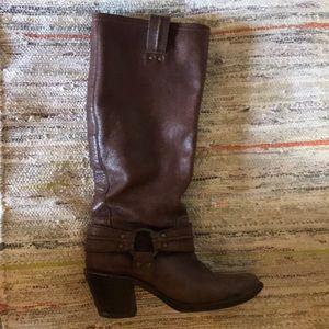 Frye Carmen Harness Tall Distressed brown boots